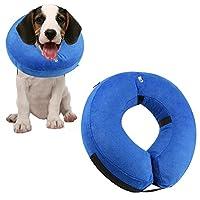 ONSON 保护充气狗项圈,柔软宠物恢复 E 型领锥体,适合中小型犬,旨在防止宠物触针缝合,中号 Me dium
