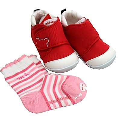 ミキハウス(mikihouse) 第一婴儿鞋&ソックス (13 2E, 赤(ソックス付き))