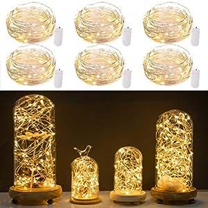 minetom 6支装 LED 月亮灯20Micro 星空 LEDS ON 铜超细银黑色2X CR 2032batteries 需要和包括152.40cm (1.5m) 适用于 DIY 婚礼中心装饰品或情调装饰