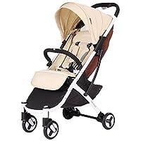 Babyruler贝龙儿婴儿车Swift轻便车ST136-卡其色(约0-4岁,5.9KG单手收车,超小折叠,可上飞机,可坐可平躺,四轮避震)