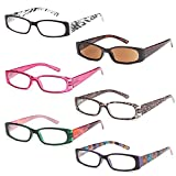 GAMMA RAY READERS 6 Pairs Ladies' Readers includes Sunglass Reader Quality Spring Hinge Reading Glasses for Women 2.00x 6.00