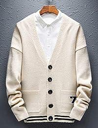 Goralon 男装2018秋冬季V领针织开衫男士外套青年修身毛衣男上衣外套百搭针织外衣
