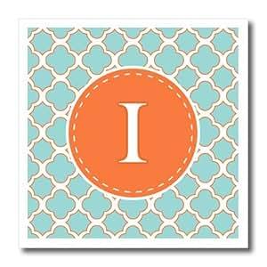 janna salak 设计交织字母系列–字母 I 交织字母橙色和蓝色四瓣花图案–熨烫热转印