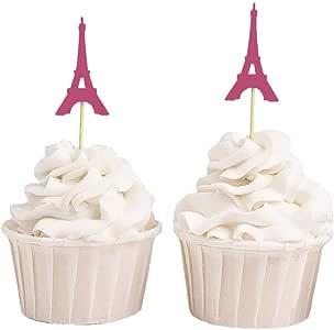 可爱的纪念品,埃菲尔铁塔纸杯蛋糕装饰,婚礼派对甜点装饰 - 20 件装 粉红色 35 x 5 cm DSCCT-68E