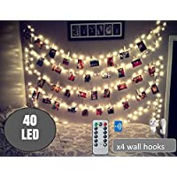 Upgraded 40 LED Photo Clip String Lights 20 Ft, Remote Control,USB Powered, Free Wall Hooks, Warm White, Timer , Christmas Card, Decoration, Wedding, Party, Christmas Lightings by BestCircle