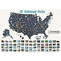 美国国家公园刮痕地图 - 大型刮痕国家公园海报 60.96 厘米 x 43.18 厘米 60 美国国家公园。 金箔以细节图片为特色。 包括刮痕笔、拨片和刷子