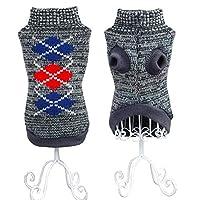 ANIAC 宠物保暖衣,小猫绞花针织高领毛衣冬季针织衫小狗套头针织毛衣适合猫和小狗(XS 码,灰色)