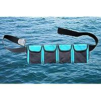 AKM-Scuba 潜水口袋重量腰带(S 码 4 个口袋 28 英寸 - 38 英寸(71-97 厘米),蓝色