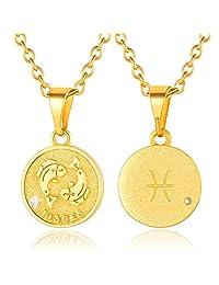 ChainsPro 女式 12 个十二生肖标志项链,*章硬币吊坠,带 18K 镀金链-18+2 英寸(约 45.7 + 5.1 厘米)可调节,星座首饰(发送礼品盒)