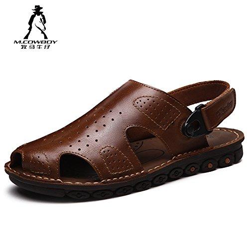 牧马牛仔 男凉鞋 夏季真皮防滑男款包头防滑手工沙滩鞋 男士凉鞋 2A7820-11