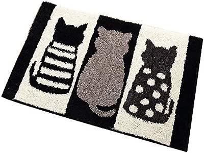 WINLIFE 矩形门垫 居家休息门垫 适合入户户外 3 只猫黑白浴室厨房防滑门垫 17''x25''(45 * 65cm) mk1090
