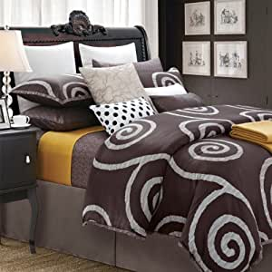 EverRouge 7-Piece Cotton Duvet Set, Queen, Serenity Coffee