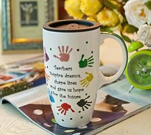 YIJUTANG 懿聚堂 创意新年礼物 彩色手印 创意个性手绘涂鸦油画咖啡杯 大容量马克杯 欧式彩绘陶瓷杯