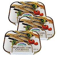 阿尔辰晞牌 拉脱维亚原装进口 罐头 100g*3盒 海味零食 (番茄汁波罗的海沙丁鱼罐头)