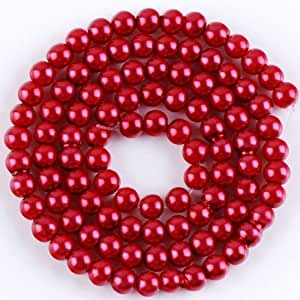 Beading Station 50-Piece Satin Luster Glass Pearl Round Beads 8mm, Dark Red