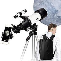 儿童和初学者望远镜 - 70 毫米光圈 400 毫米AZ 安装天文折射镜,观察月亮和风景的好礼物 - 便携式旅行望远镜带背包