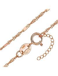 周大福珠宝首饰扁扭水波18K玫瑰金项链E 105821(亚马逊自营商品, 由供应商配送)