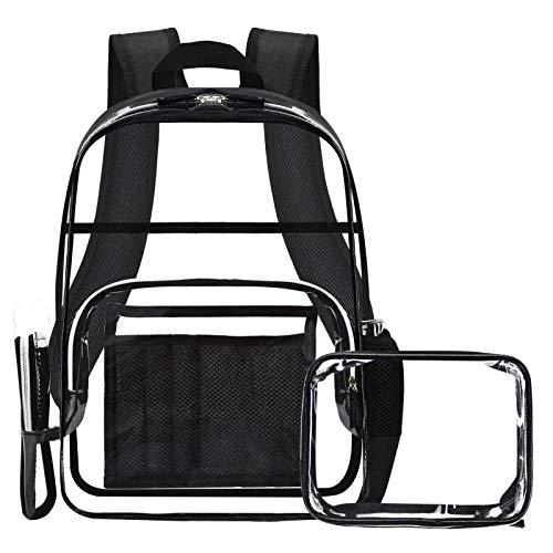 透明背包带配饰袋,PVC 学生背包带多口袋,重型透明书包带黑色边饰可调节肩带,适合成人、男士、女士和儿童 - 适合上学和工作