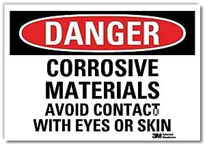 """Smartsign U3-1275-RD_10X7""""危险腐蚀材料避免与*或皮肤接触""""反光自粘贴纸,25.4 厘米 x 17.78 厘米"""