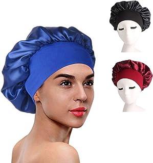 女式浴帽 3 件装缎面内衬睡帽 适用于卷发夜帽 防**帽 (蓝色/粉色/黑色)