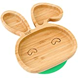 Baby Toddler Rabbit 吸盘,固定式喂食盘,天然竹 绿色