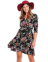 Truly ME 女式华丽花卉印花夏季休闲连衣裙