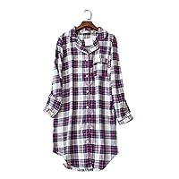 韩德苏 女士长款睡裙 大码睡衣 长袖精梳棉绒布睡裙 加肥加大舒适透气家居服女 紫格 (M(胸围100、衣长92))