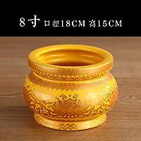 香炉家用室内陶瓷无字金黄色供水杯果盘圣杯香炉佛具用品供佛套装(折扣价)8寸香炉