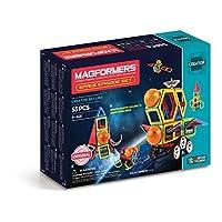 Magformers Space Episode 套装(55 块)磁性积木,教育磁性瓷砖套件,磁性建筑 STEM 套装