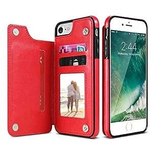 iPhone Xs,XS Max & XR 钱包式手机壳带卡夹钱包翻盖 PU 皮保护套磁性可拆卸超薄后盖卡包 iPhone XR 红色