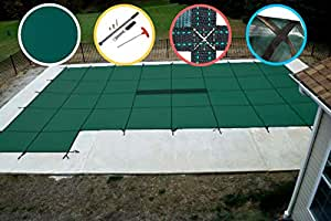 Water Warden Pool Safety Cover Green with Left Step 16 by 32-Feet Pool