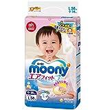 尤妮佳(Moony)婴儿纸尿裤 增量装L58片 (适合9-14kg)(日本原装进口,超薄透气)