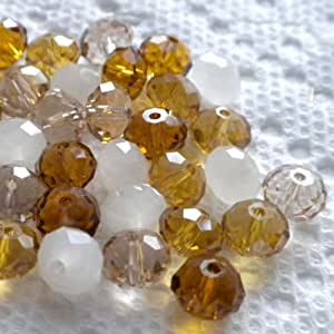 Beading Station 30-Piece Mix Faceted Crystal Rondelle Beads for Jewelry Making, 8 by 6mm, Amber