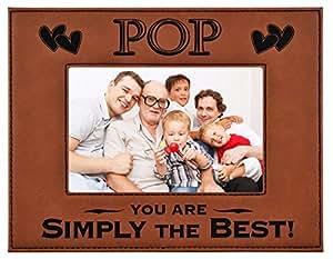 POP 礼物 ~ POP You Are SIMPLY THE BEST! 雕刻人造革相框 父亲节礼物 祖父爸 生日 POP 圣诞节礼物 女儿儿子 *好的POP 永恒 Rawhide 5x7