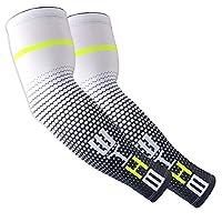 BATEER 运动压缩袖套 1 对 - 防紫外线冷却 - 适合棒球篮球足球跑步骑行运动 - 青少年和成人尺码