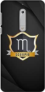 AMZER 修身款手工制作设计师印花硬质壳后盖与屏幕清洁套件皮肤适用于诺基亚 5 Black Scorpio
