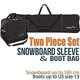 Athletico 两件套滑雪板和靴子组合 | Store & Transport 滑雪板高达 165 厘米,靴子*大尺寸为 13 | 包括 1 个滑雪袋和 1 个靴袋(黑色)