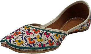 Step n Style 女式多色Khussa鞋Punjabi Jutti Copper Zari 串珠工作平底鞋