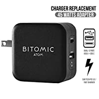 Bitomic 替换 GaN Tech USB-C 手机充电器 适用于三星 Galaxy S10 S10e S8 S9 | 兼容三星 S8 Plus S9 Plus S10 Plus Note 8 9 快速充电器 | 45W 方形三星充电器 | 黑色