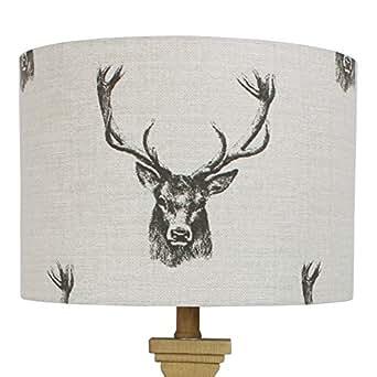 Stags Head Deer 乡村鼓灯罩 20 cm Diameter x 18 cm High Ceiling Pendant