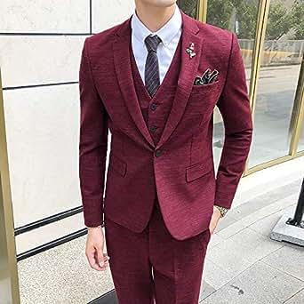 西服套装男士三件套四季韩版修身小西装职业正装伴郎新郎结婚礼服新款酒红色 6XL(62)