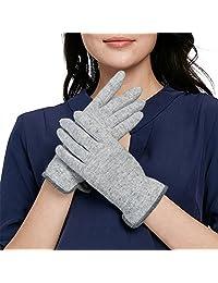 COMME LA VIE/乐为 触屏 手套 女士 羊毛 全指 薄款 冬天 户外 骑车 防寒 保暖 15FD171