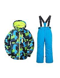男孩滑雪夹克和裤子雪地保暖套装防风防水