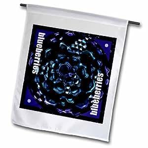3dRose fl_21914_2 岩浆果数字艺术作品 浅色和深蓝色花园旗,45.72 x 68.58cm