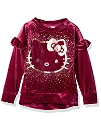 Hello Kitty 女童天鹅绒运动衫 with foil 艺术品