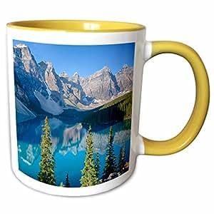 danita delimont–加拿大–班夫国家公园 VALLEY OF THE TEN peaks–马克杯 黄色/白色 11-oz Two-Tone Yellow Mug