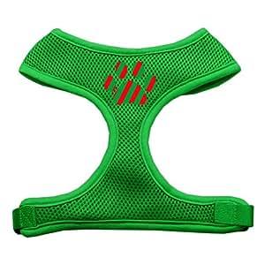 Mirage Pet 圣诞爪子丝网印花软网状狗狗背带 祖母绿 中