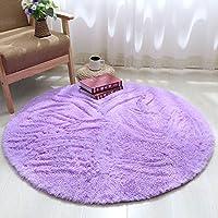 圆形地毯可爱少女公主粉瑜伽垫卧室吊篮藤椅电脑椅梳妆台落地镜垫长绒直径140厘米(送心形垫) 紫罗兰