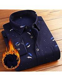 ESEA【热销】格纹加绒衬衫男长袖衬衣 休闲衬衫 男士上衣冬装潮男休闲加厚衬衫男士加绒保暖格子衬衣
