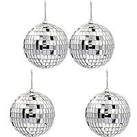 带挂环挂绳的镜球,反射光,派对喜爱,10.16 cm 4件装